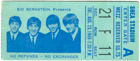 Beatles at Shea ticket 1966