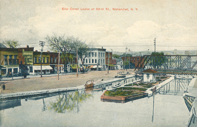 Erie Canal, 23rd St. and 2nd Ave., Watervliet, looking south c1913
